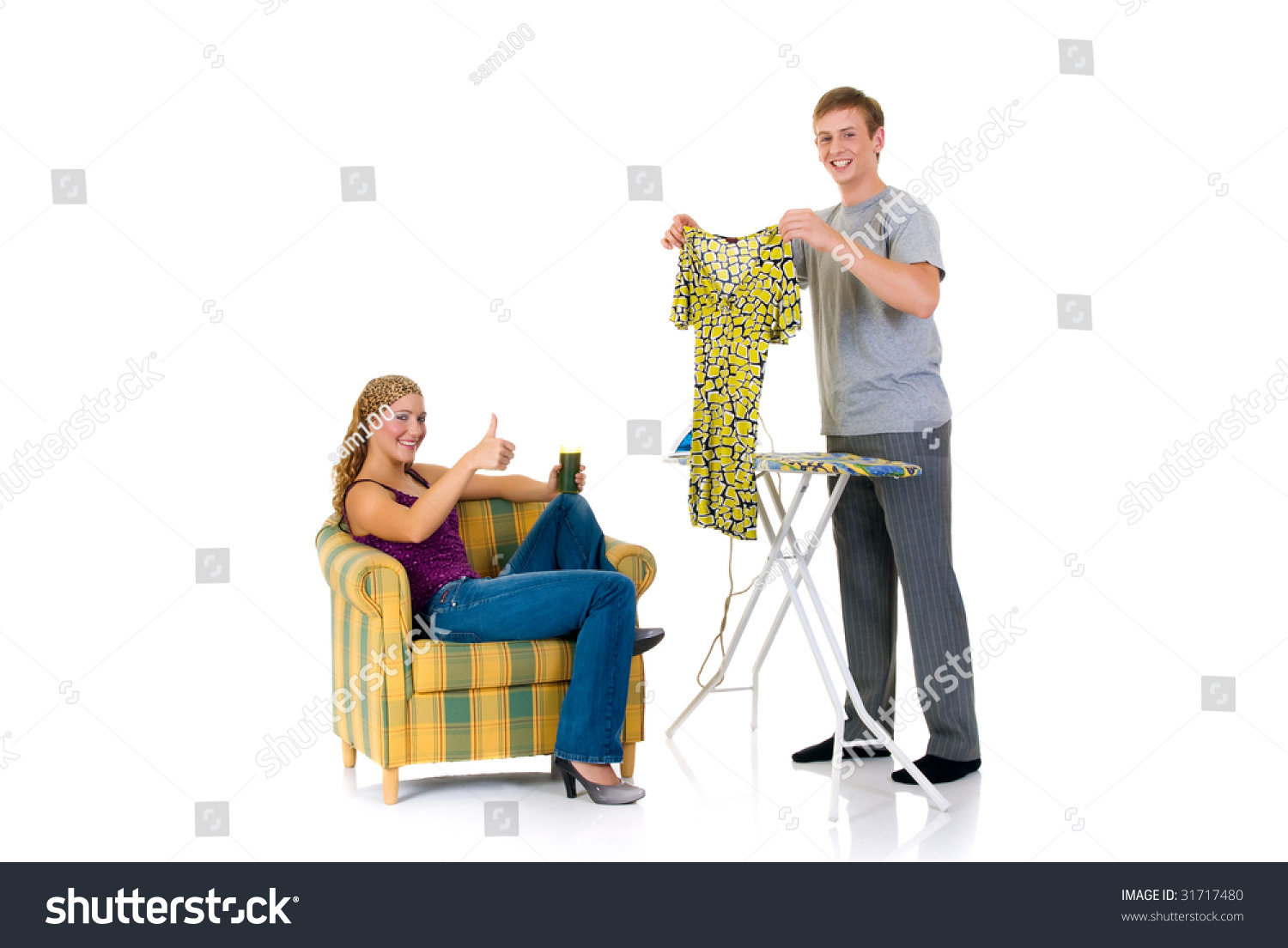 e030f1f990 Young Bossy Woman Sofa Man Ironing Stock Photo (Edit Now) 31717480 ...