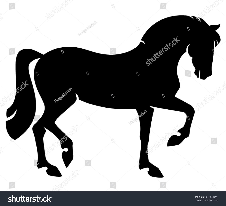 Elegant Horse In Side View - Black Stallion Walking ...