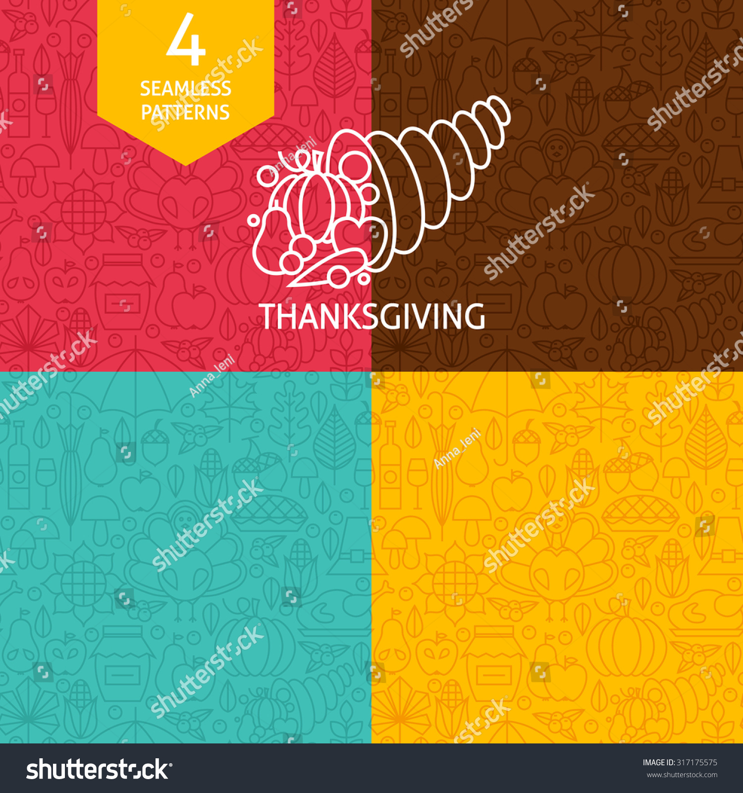 Thin Line Thanksgiving Day Holiday Patterns Stock Vector Royalty