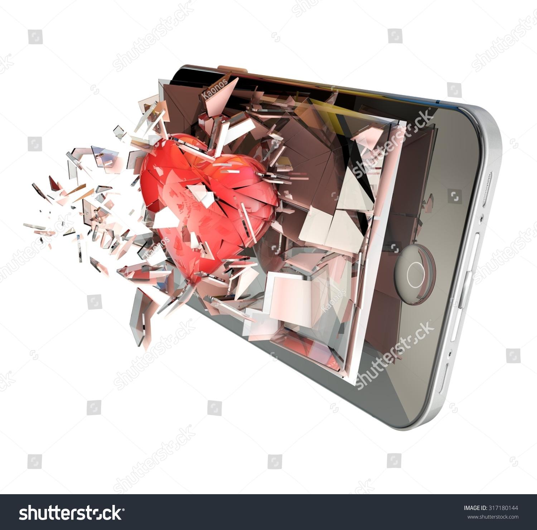 Heart On Cell Phone Broken Glass Stock Illustration 317180144
