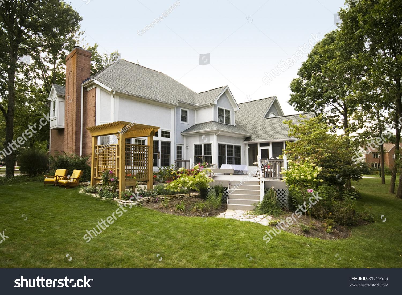 large house landscaped backyard suburbs stock photo 31719559