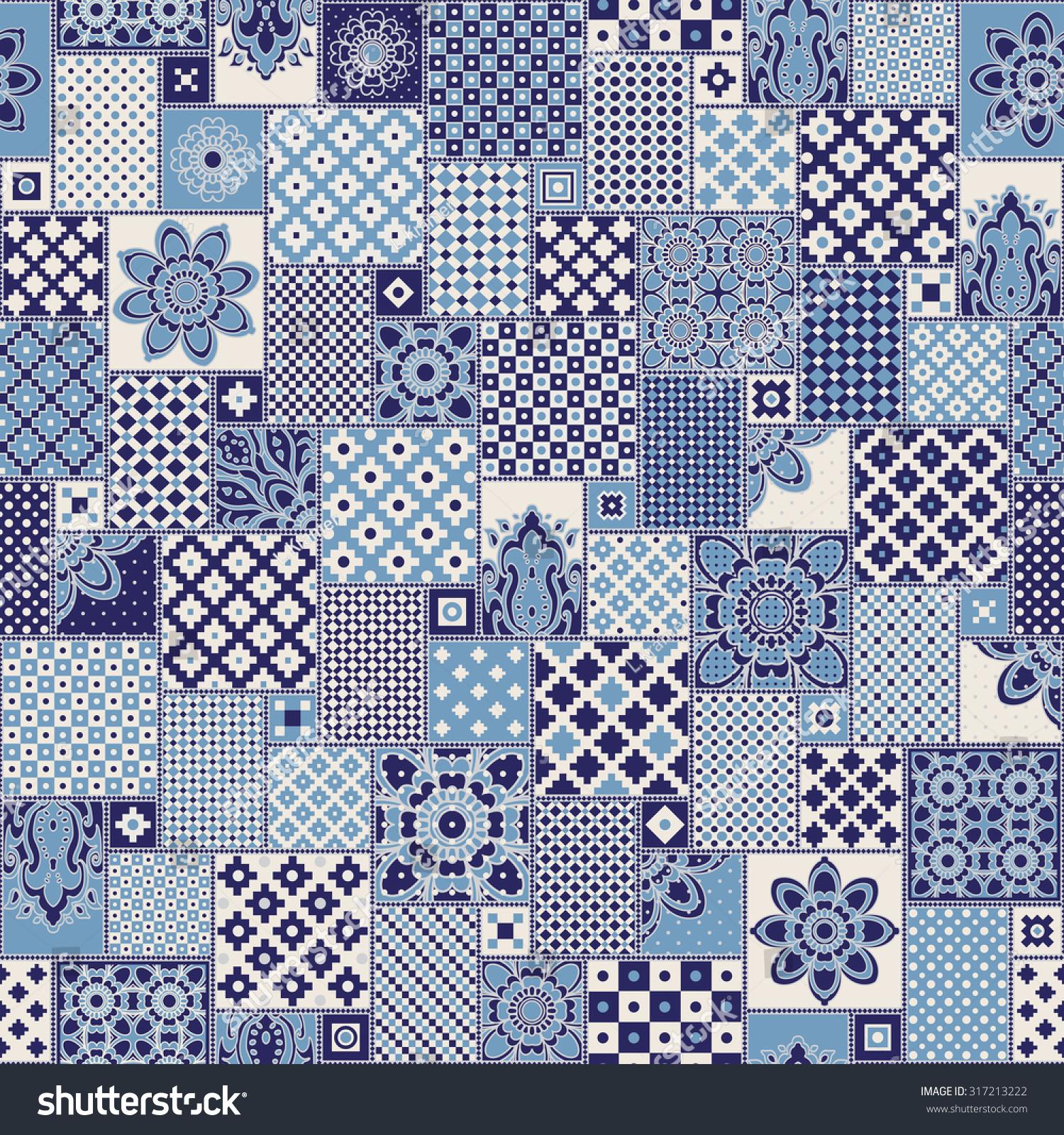 Vector Seamless Patchwork Pattern Dark Blue Stock Vector