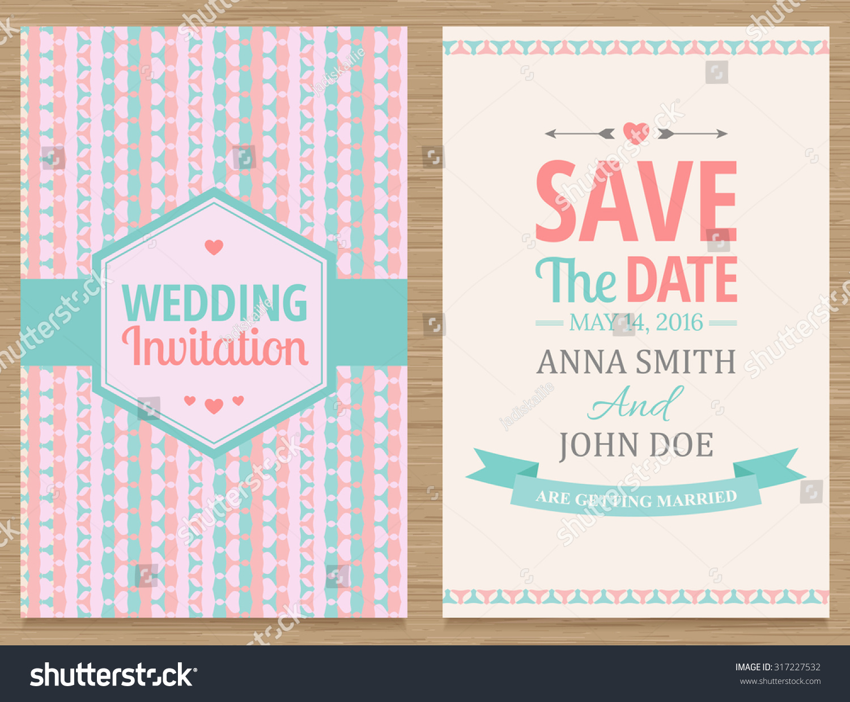 Cute Wedding Invitation Card Vector Illustration Stock Vector ...