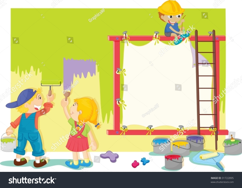 Illustration Kids Painting Wall Stock Vector 31722895 - Shutterstock