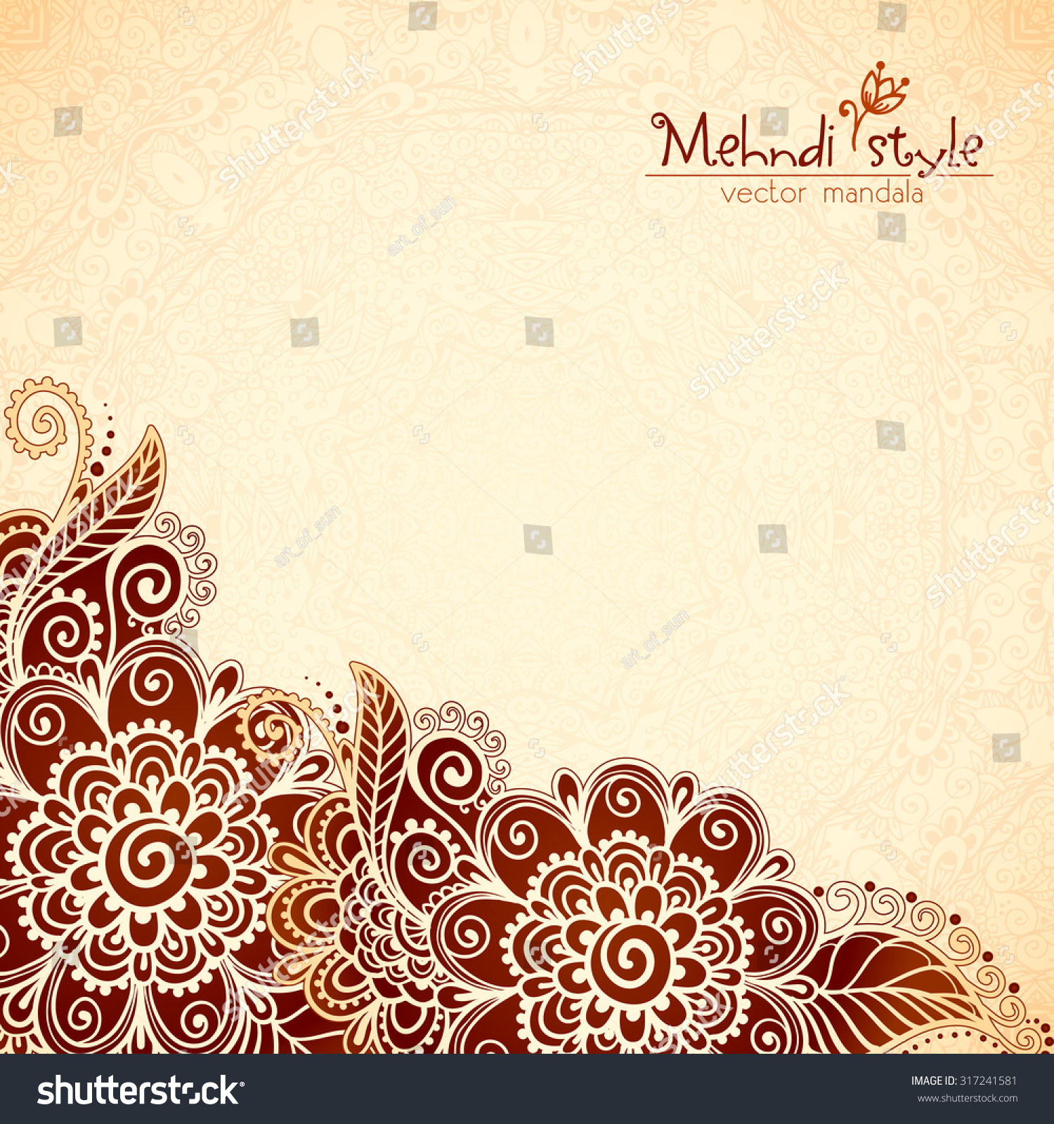 Ornate vintage vector background in mehndi style royalty free stock - Vector Floral Vintage Ethnic Background In Indian Mehndi Style