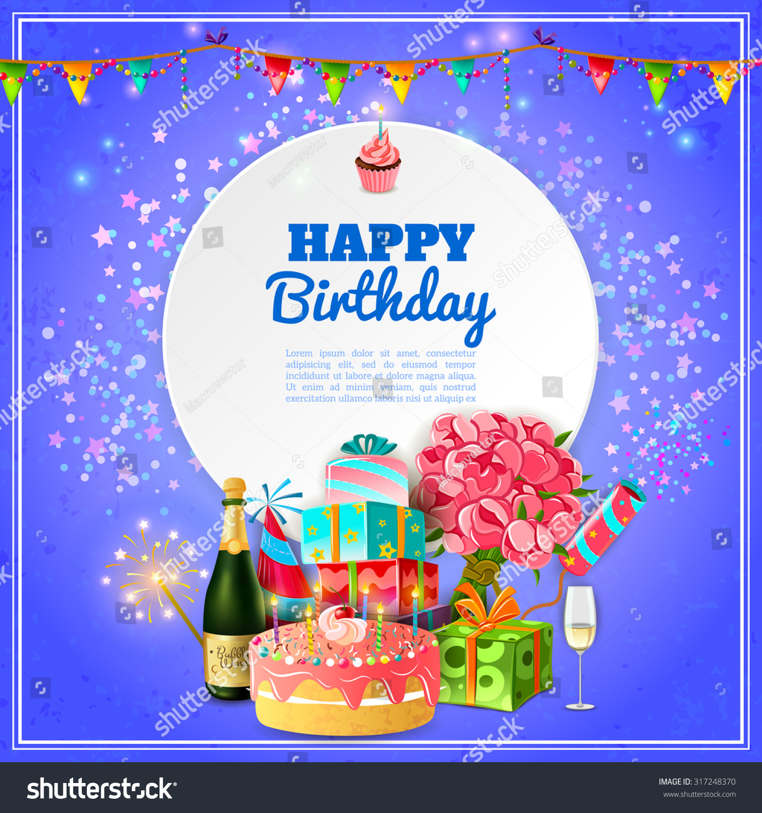 Happy Birthday Party Template For Background Or Invitation