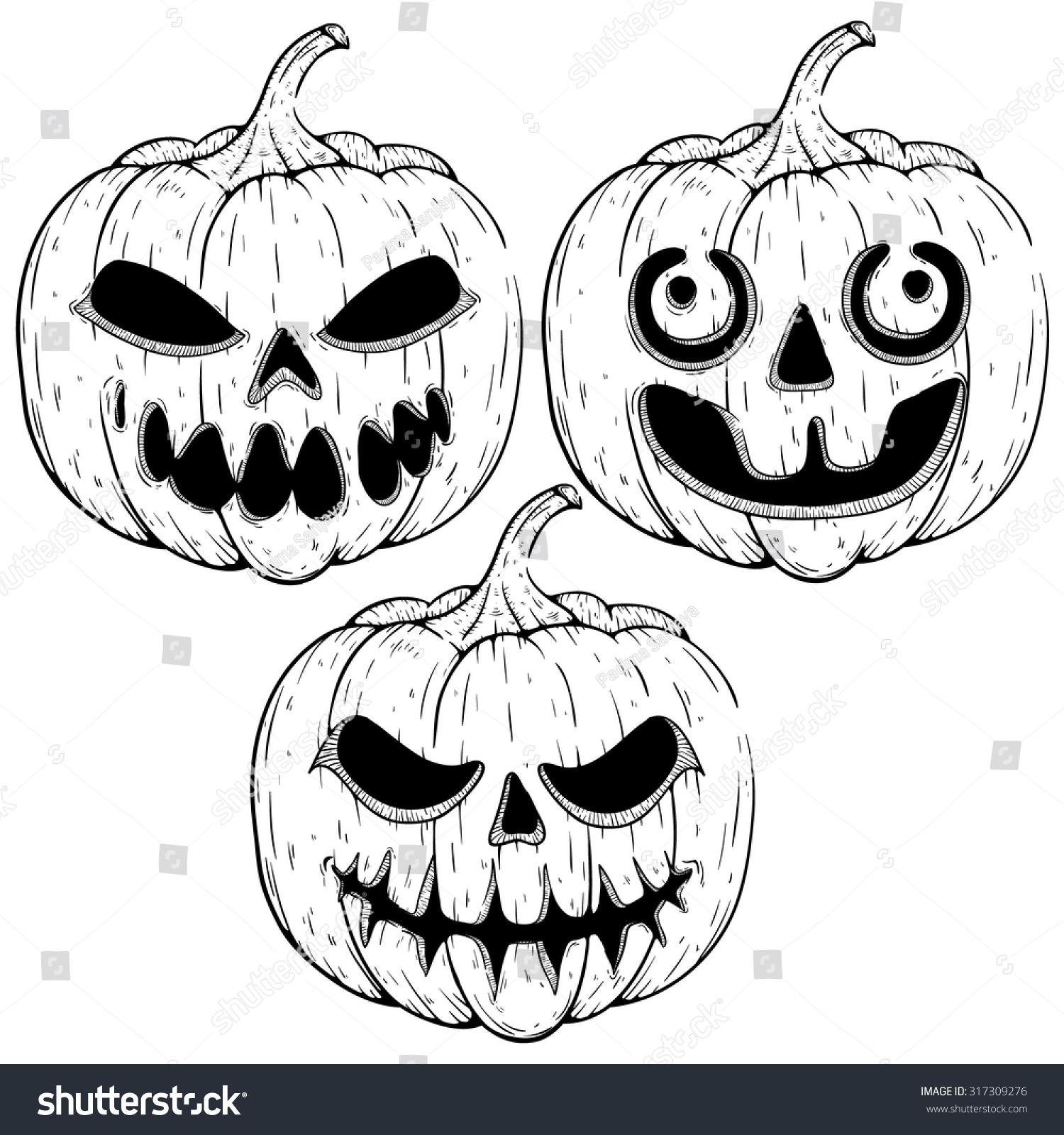 Creepy Halloween Pumpkin Drawings.Set Spooky Halloween Pumpkin Sketchy Style Stock Vector