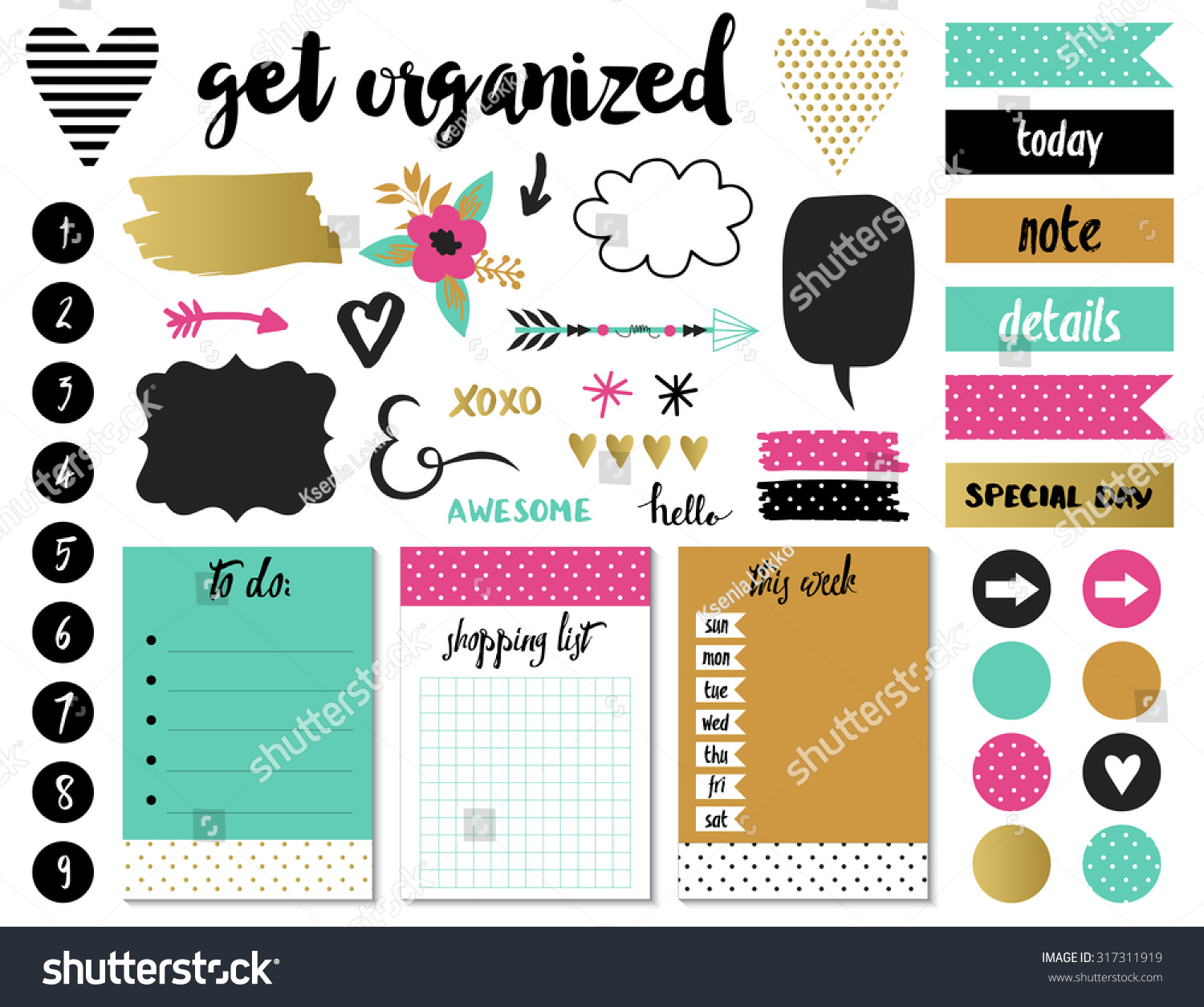 Signs And Symbols For Organized Your Planner Template For
