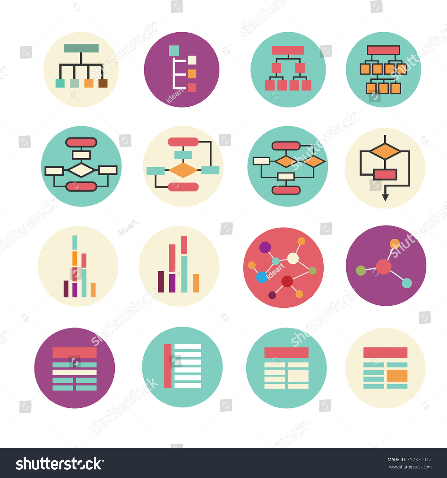 Set Of Diagram  Block Scheme  Chart Icons  Vector Simple Colorful Icon In Modern Flat Style