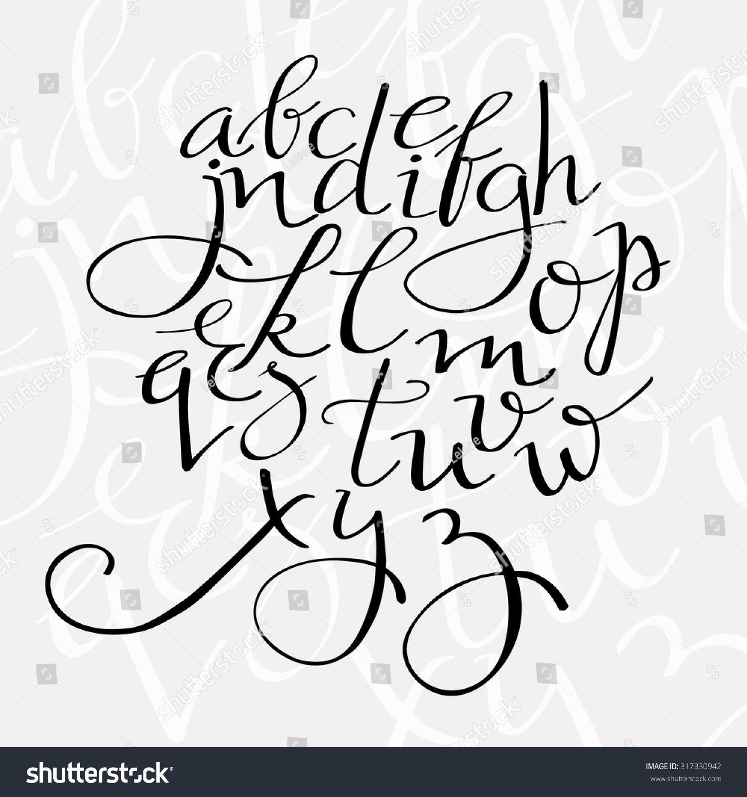 Pointed Pen Alphabet Flourish Script Vector Stock Vector HD (Royalty ...