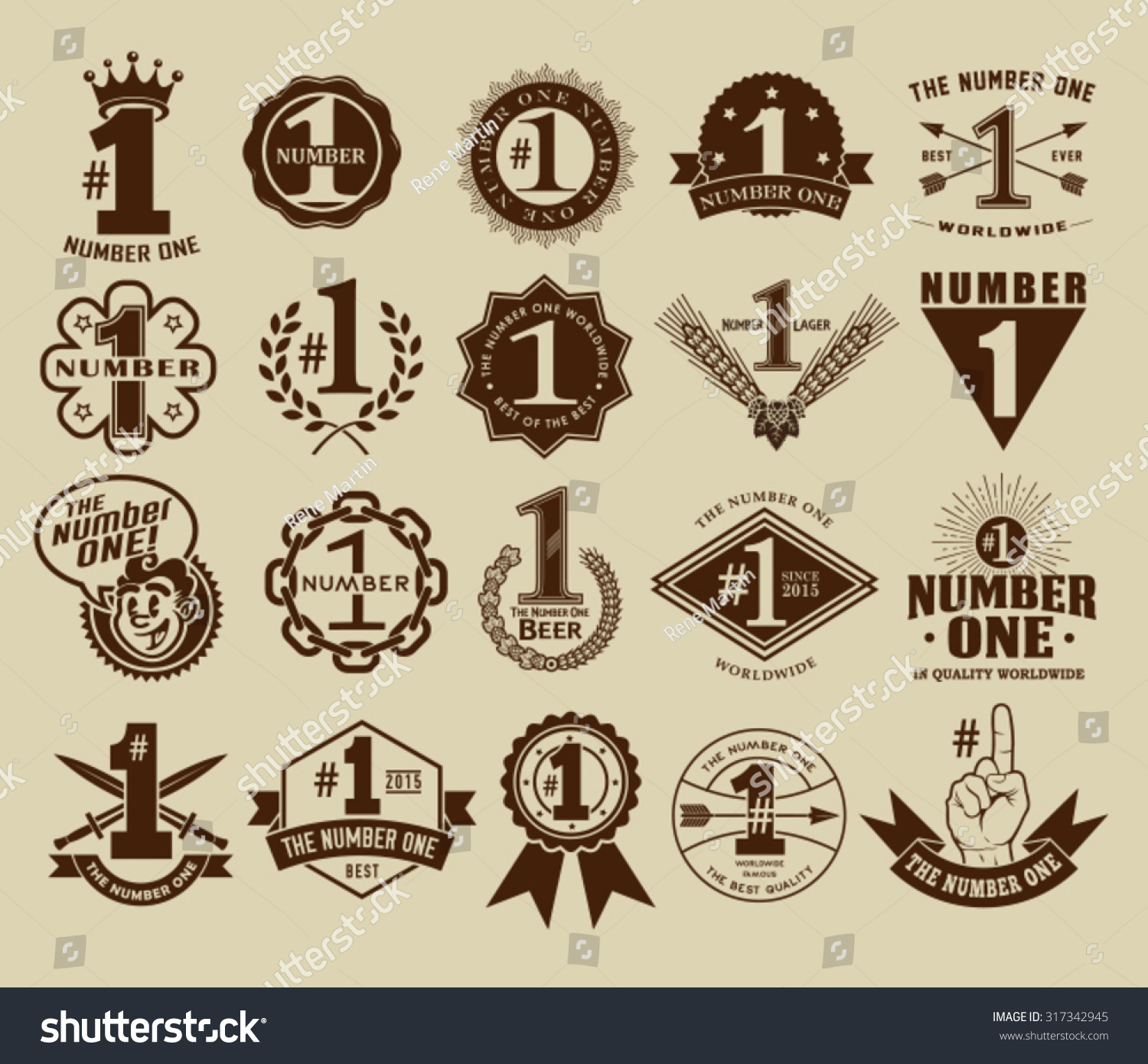 Vintage Retro Number One 1 Seals Stock Vector 317342945 ...