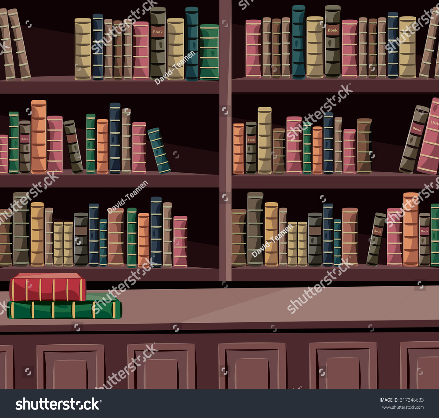 Interior historical library with old books Encyclopedia