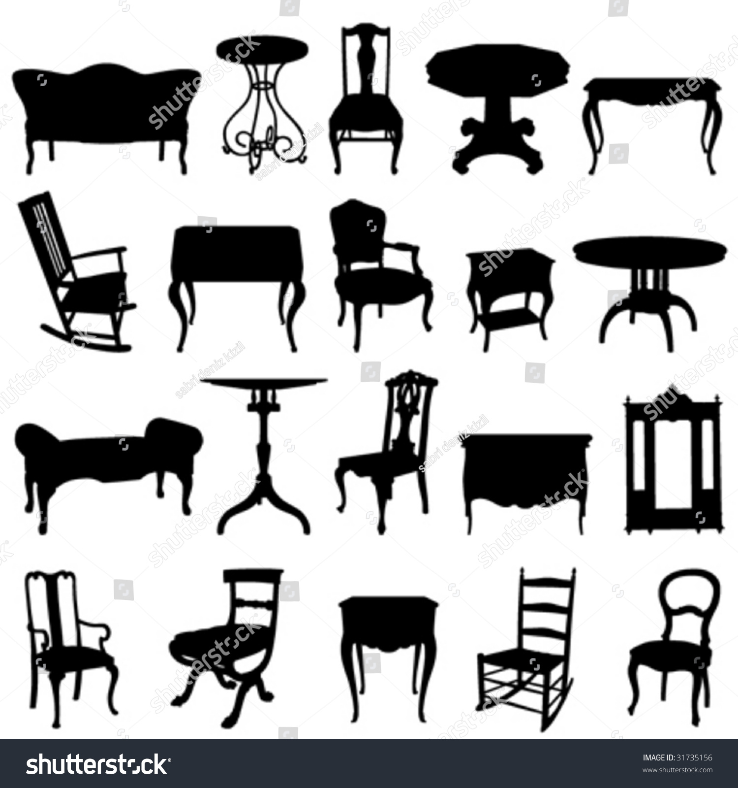 Antique chair silhouette - Antique Furnitures Set