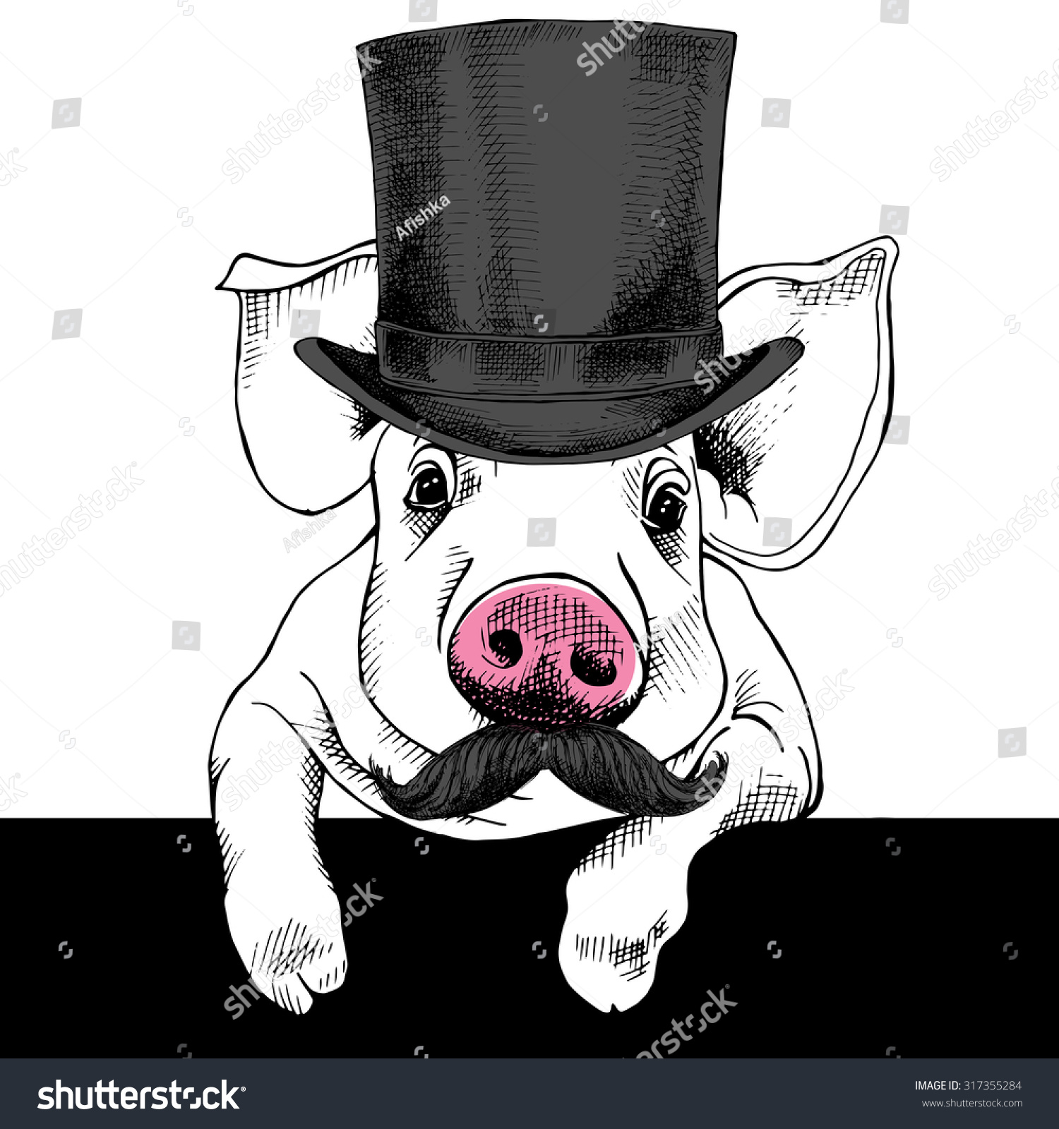 cd8d7e68570 Pig portrait with mustache in a top hat… Stock Photo 317355284 ...