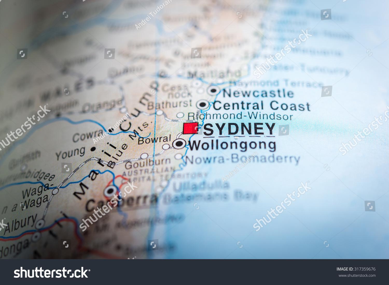 Map View Sydney Australia Vignette Stock Photo Edit Now 317359676