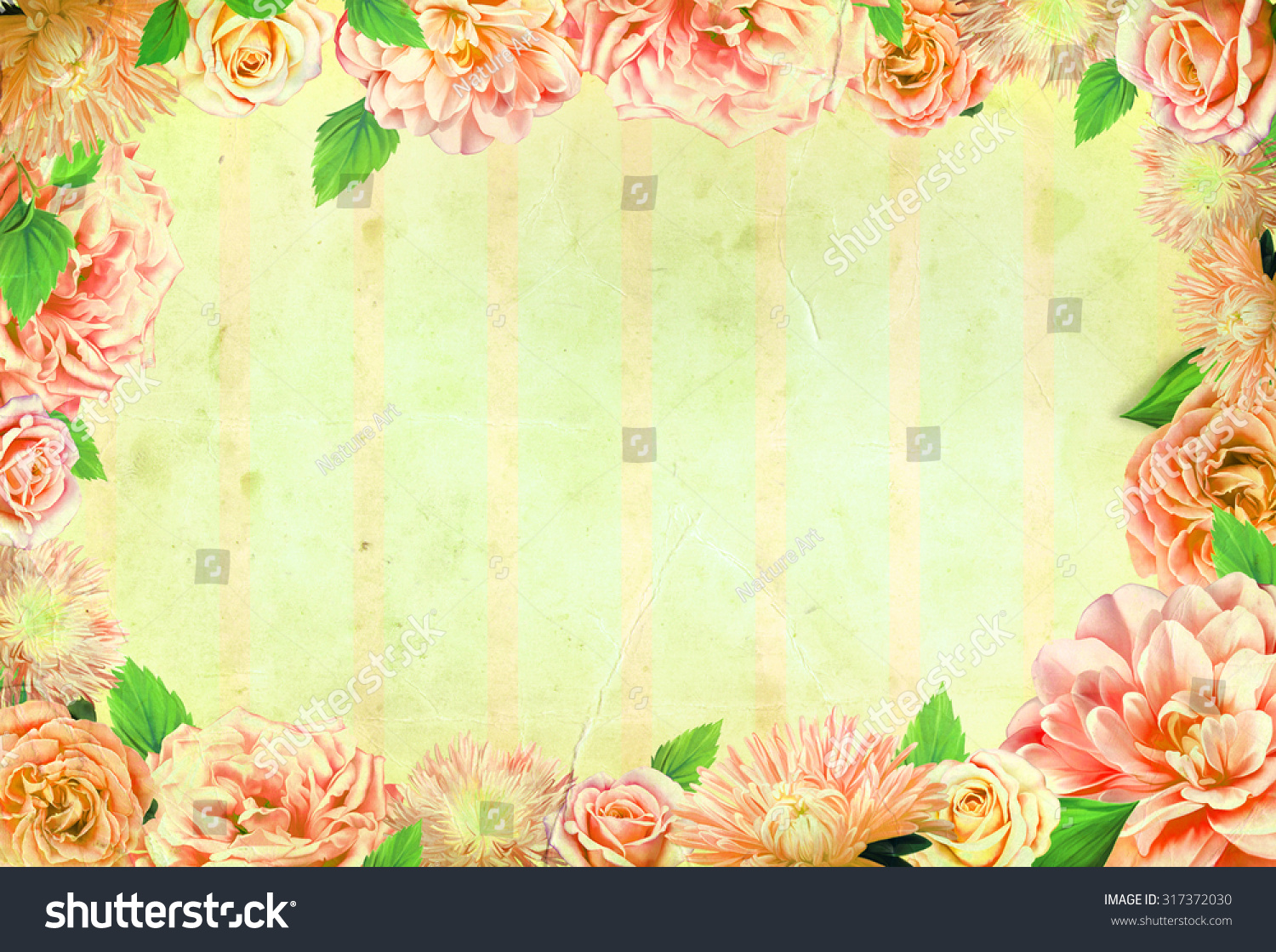 Yellow vintage floral background