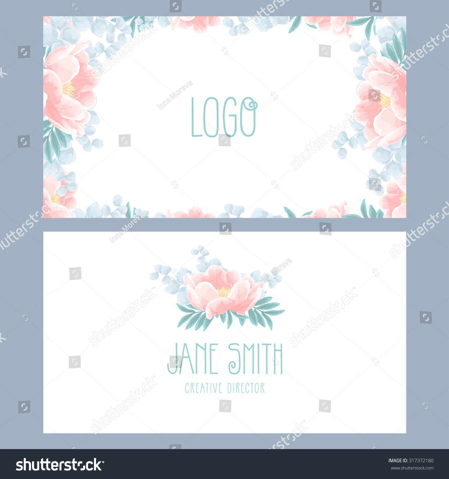 Vector floral business card template beautiful stock vector royalty vector floral business card template with beautiful peonies wajeb Images