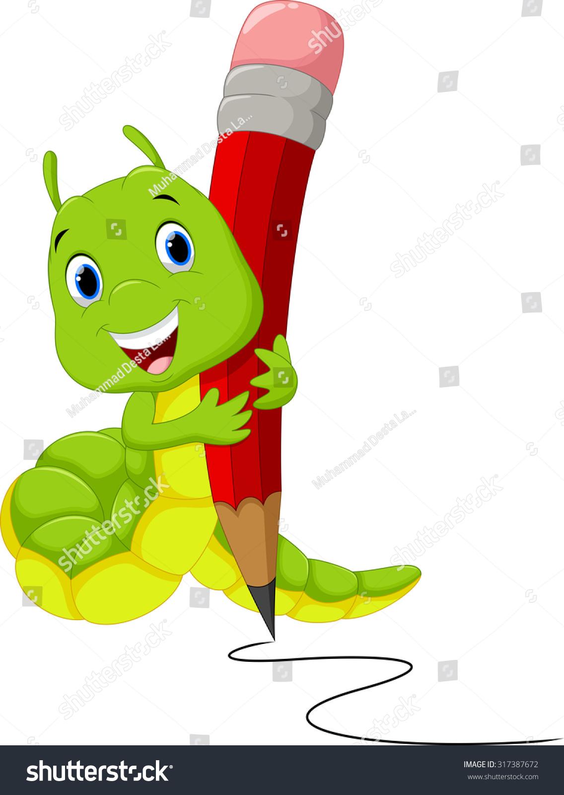 Cute Caterpillar Cartoon Writing Stock Vector 317387672 - Shutterstock for Clipart Cute Caterpillar  56mzq