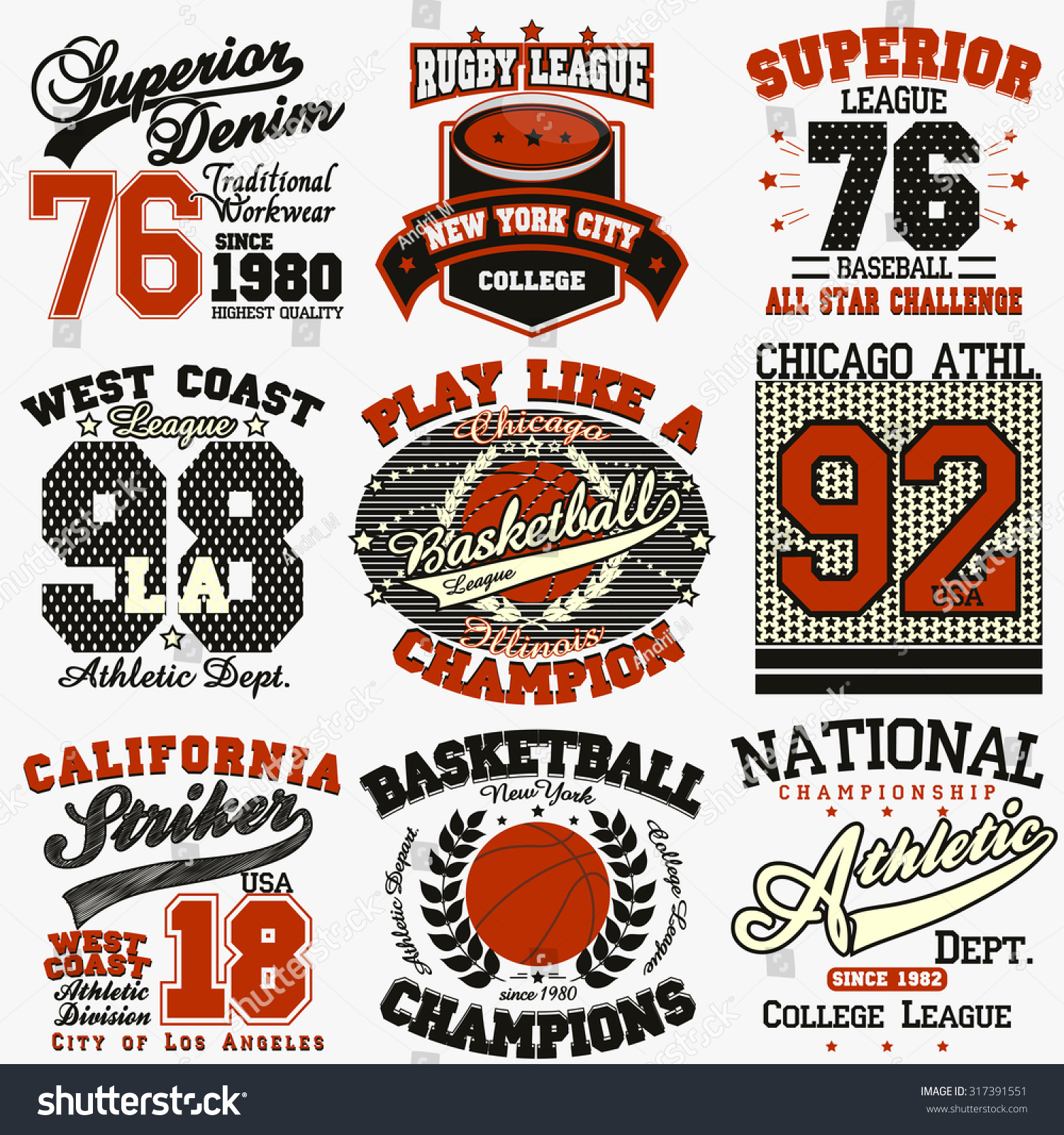 Sport Typography Graphics Logo Set Tshirt Stock Vector