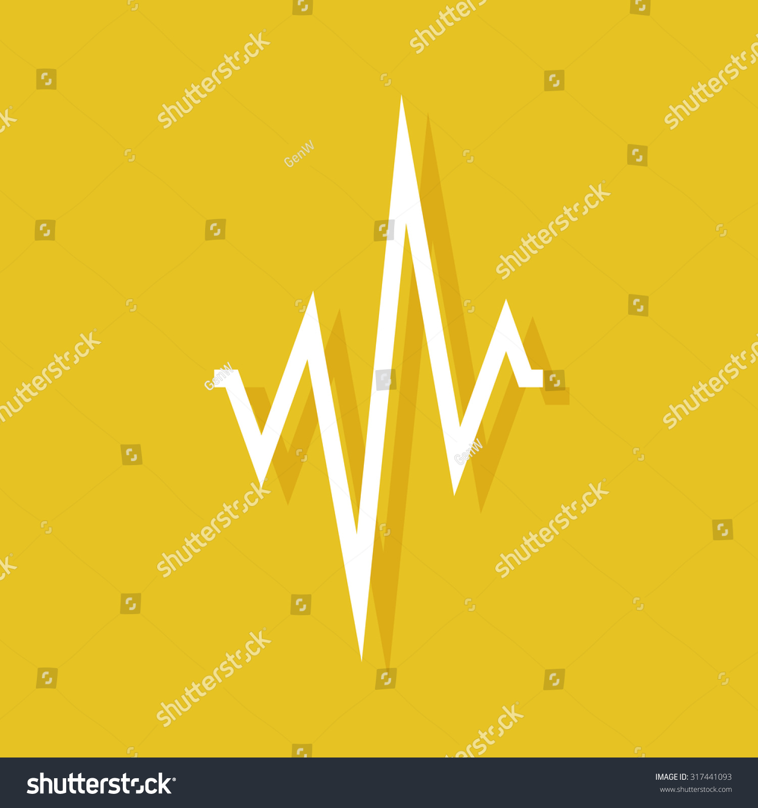 Cardiogram Icon Shadow On Yellow Background Stock Vector