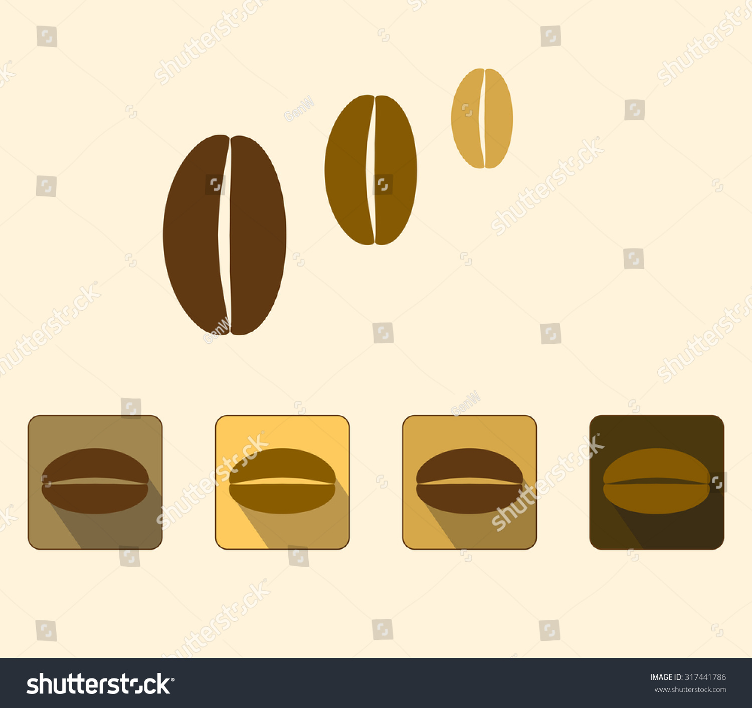 coffee beans flat coffee bean icons stock vector royalty free 317441786 https www shutterstock com image vector coffee beans flat bean icons shadow 317441786