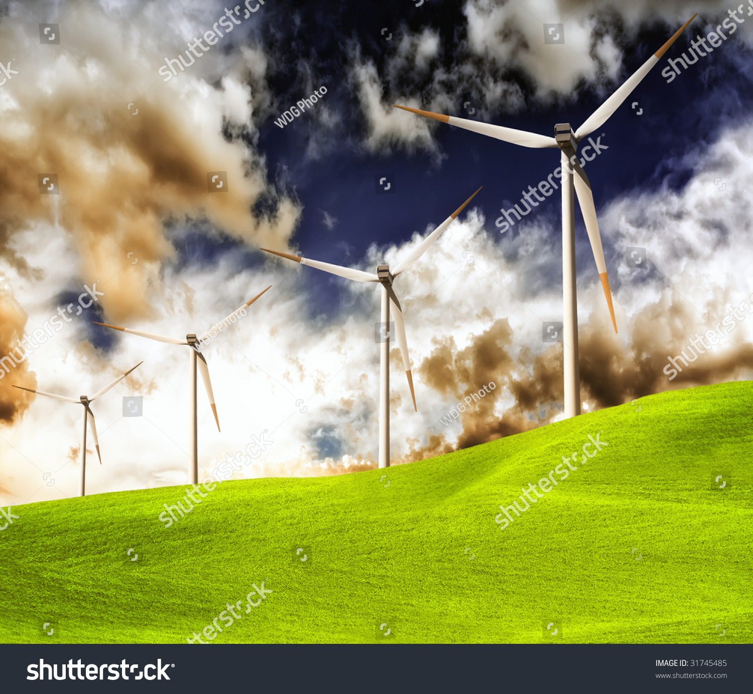 Green Grassland And Wind Turbines On Storm Cloud Stock Photo 31745485 ...