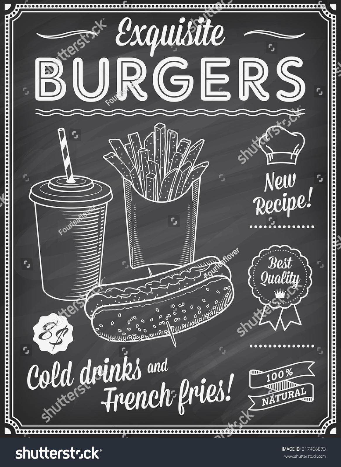 Grunge Chalkboard Fast Food Menu Template Stock Vector 317468873 Shutterstock