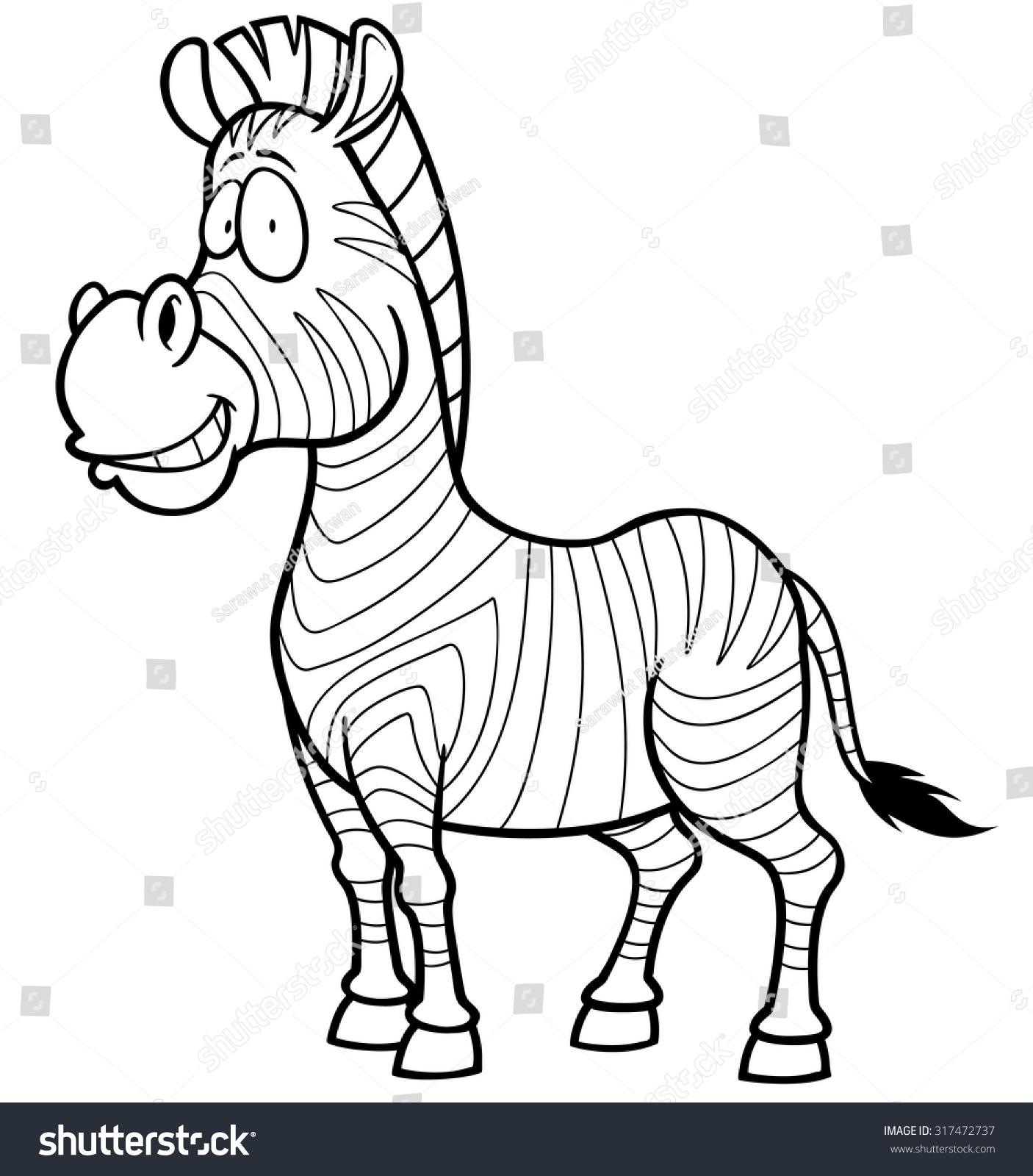 Vector Illustration Zebra Coloring Book Stock Vector 317472737 ...