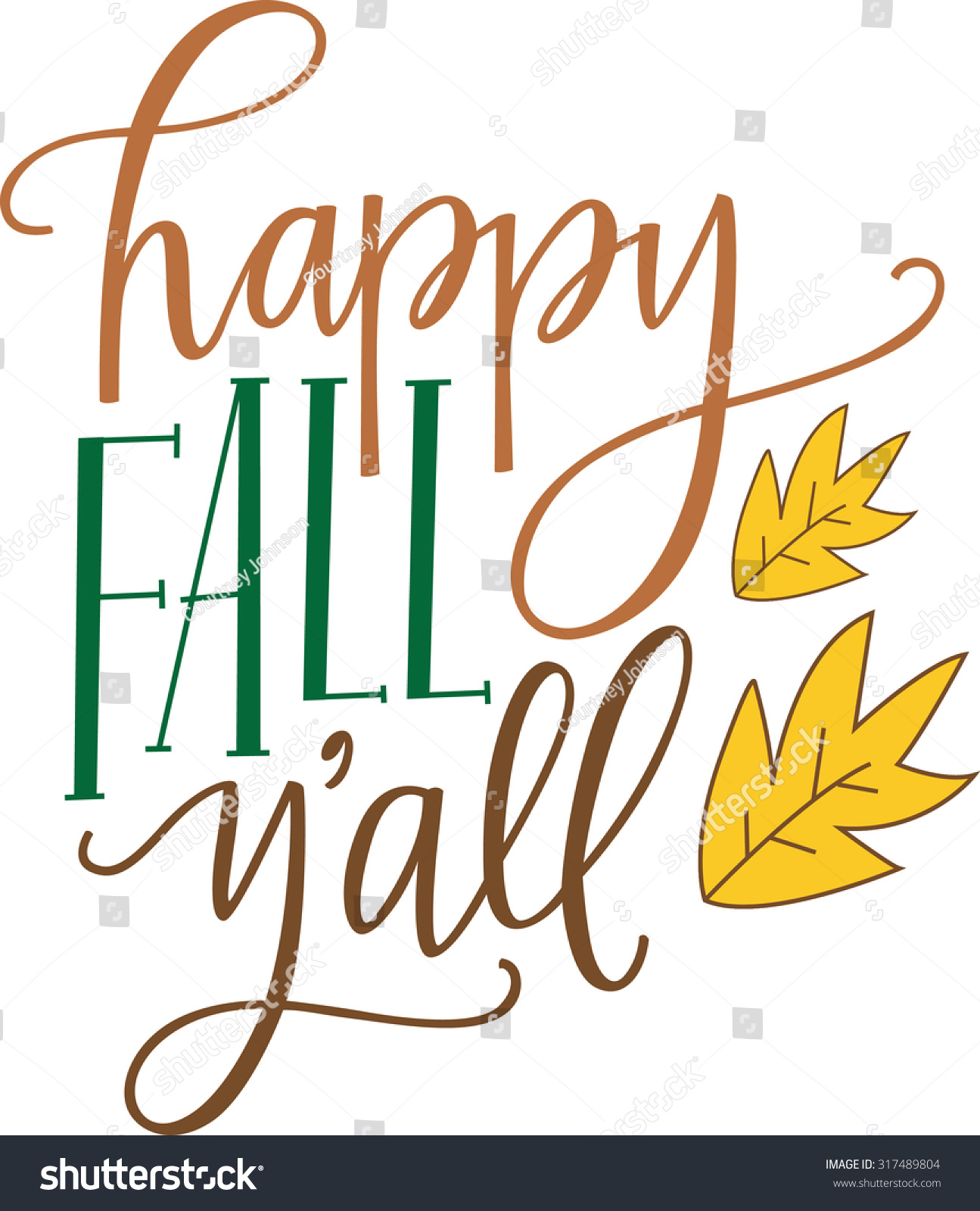 Happy Fall Yall Stock Vector 317489804 - Shutterstock