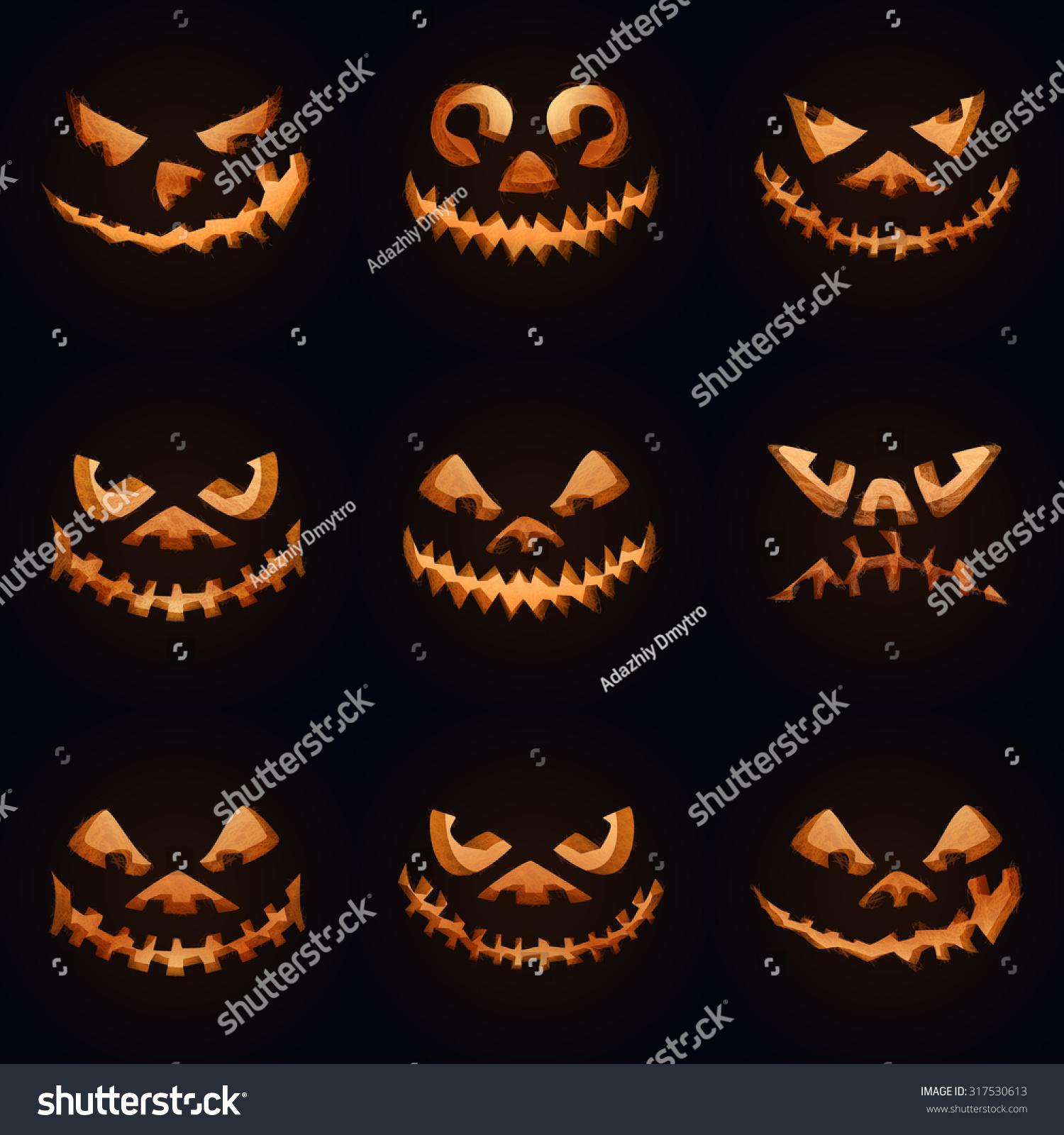 Set Nine Scary Halloween Pumpkins Party Stock Vector 317530613 ...