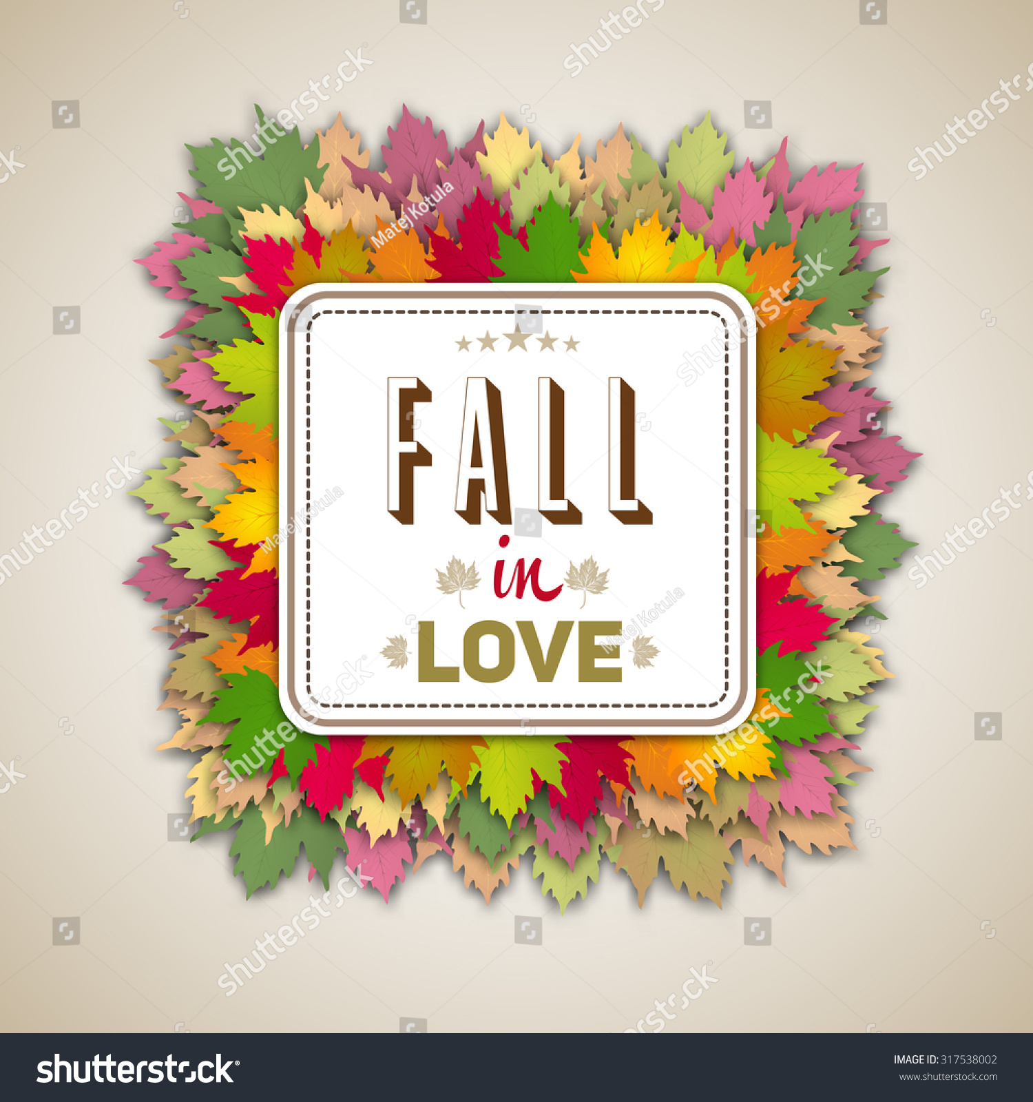 Fall Love Quote Autumn Leaves Background Stock Vector 317538002    Shutterstock