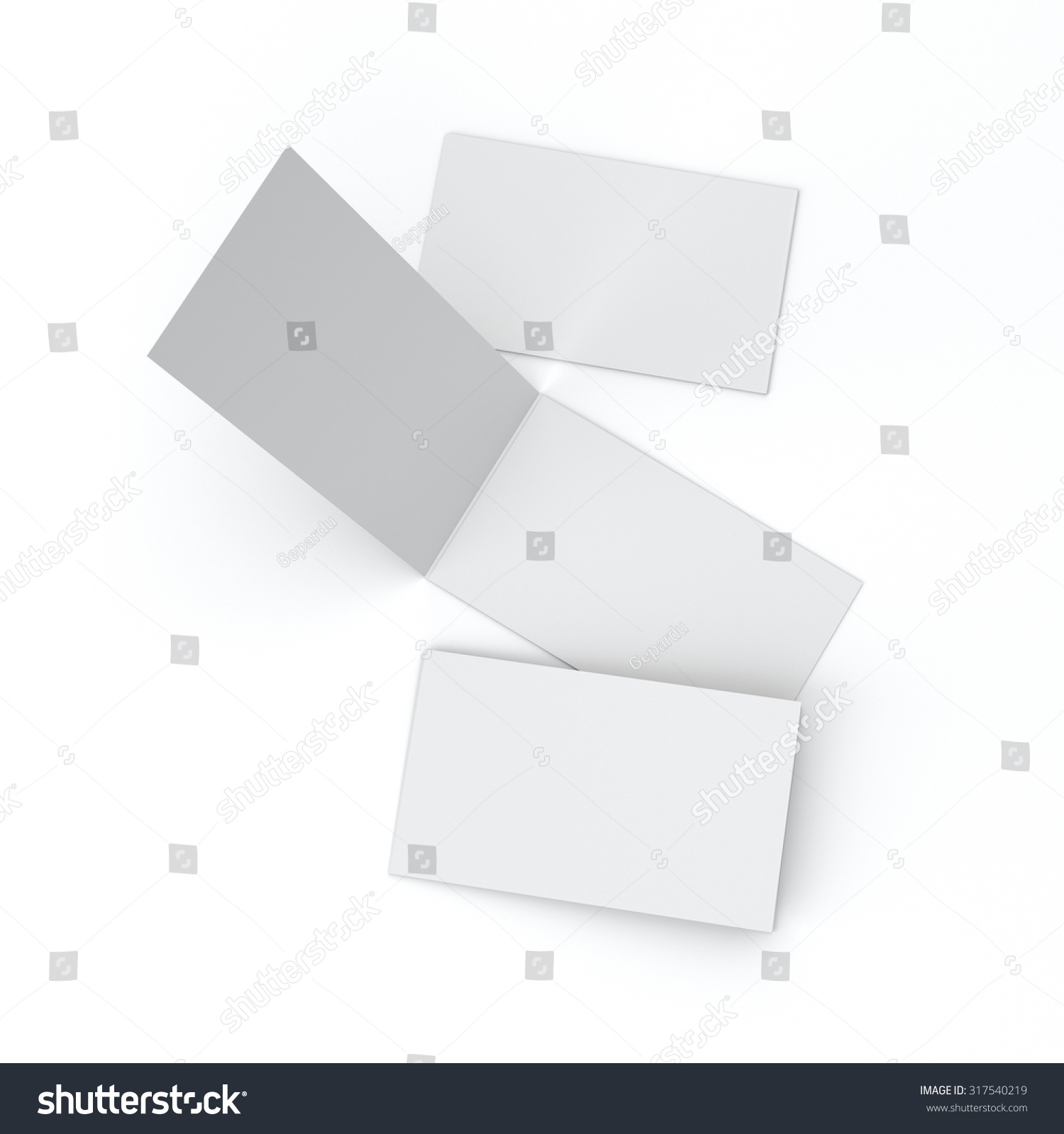 Blank Business Cards With Soft Shadows Isolated On White To Replace