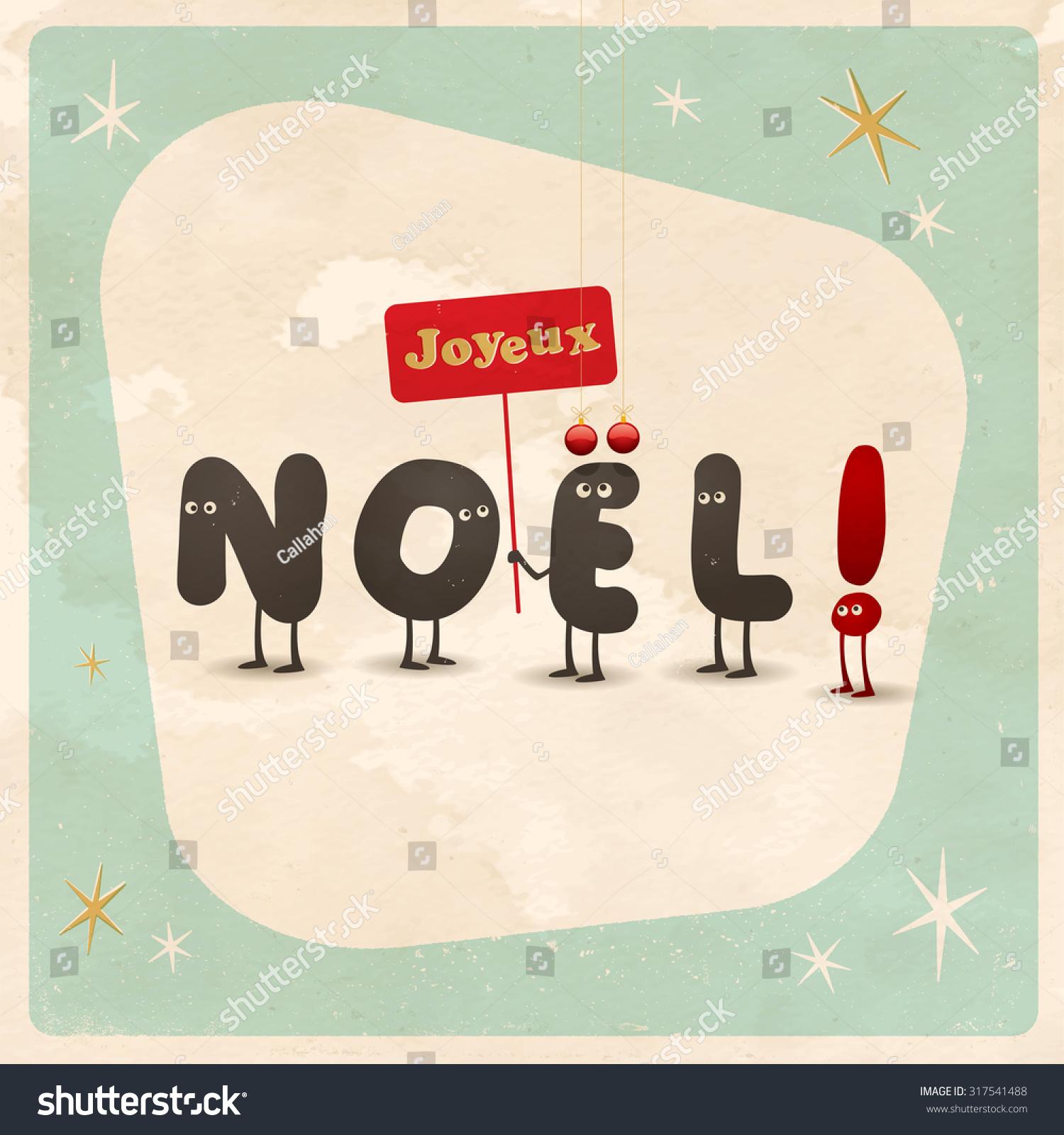 foto de Vintage Style Funny Christmas Card Joyeux Stock Vector (Royalty ...