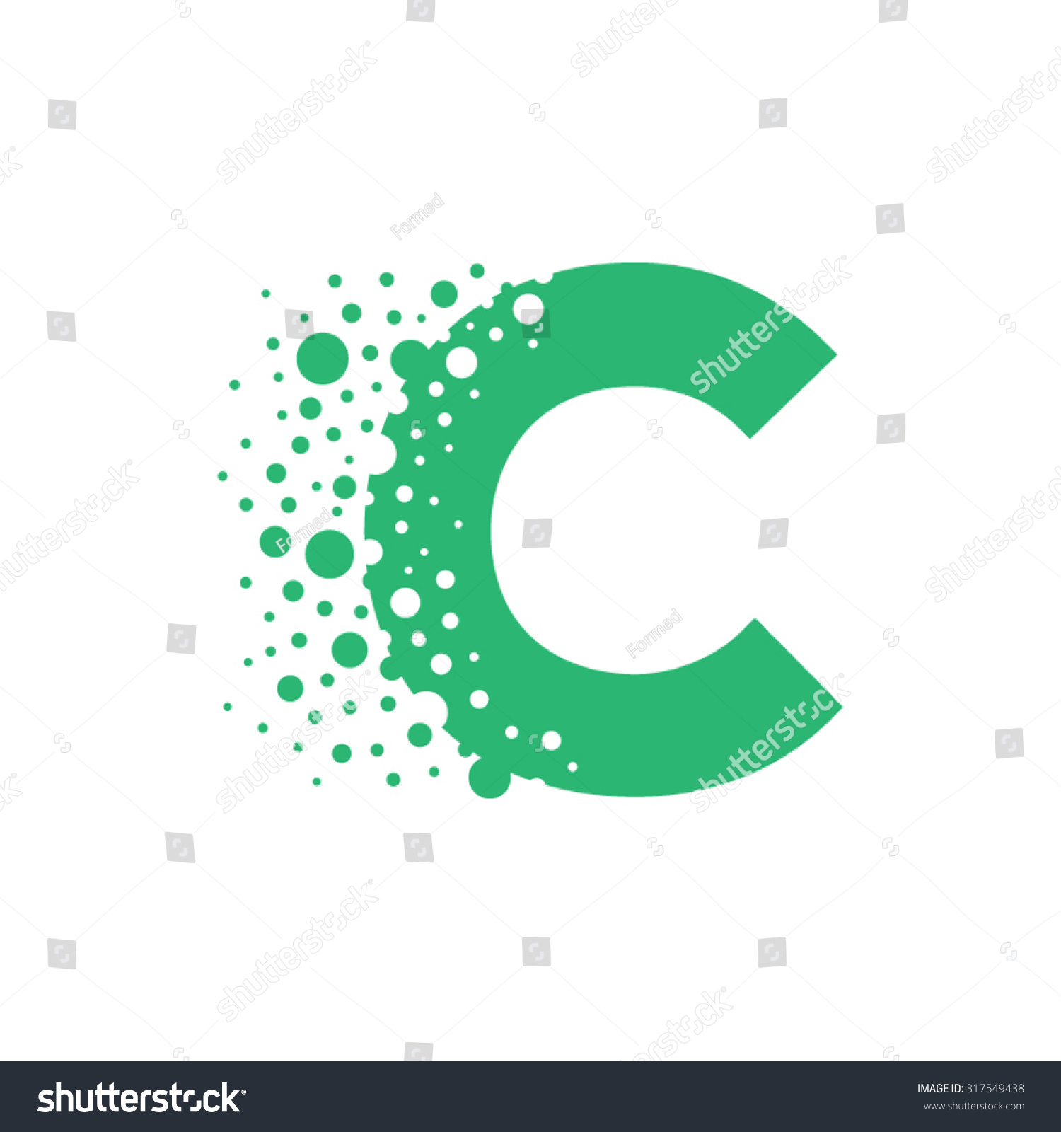 letter c bubbles vector stock vector 317549438