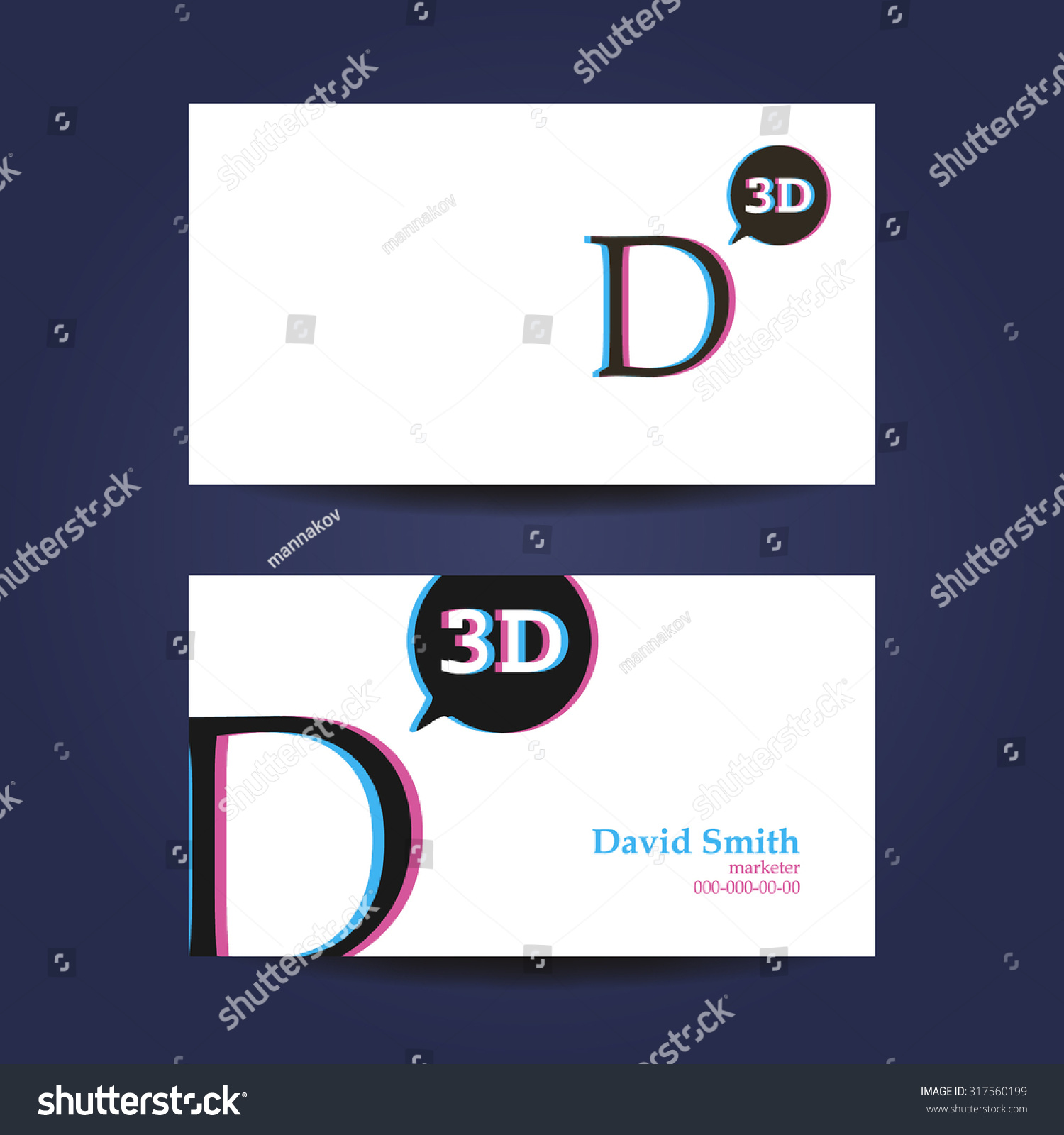 Business card template letter d 3d stock vector 317560199 shutterstock business card template letter d 3d fbccfo Choice Image