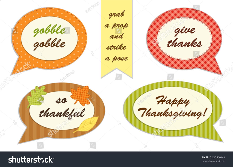 Cute Set Thanksgiving Speech Bubble Photo Stock Vector Royalty Free 317566142