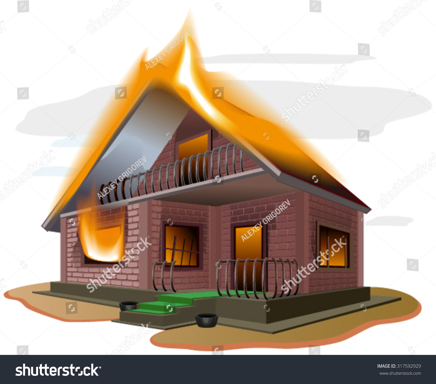 Brick House Burns Cottage Fire Vacation Home Property