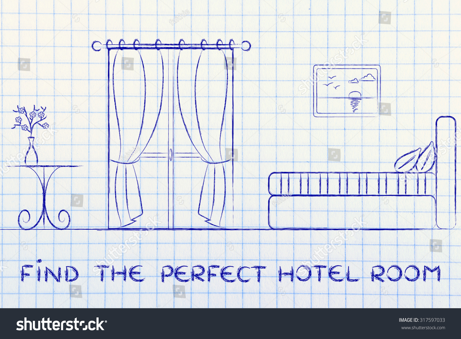 travel and accommodation industry: concept of hotel search illustration of room interior | EZ Canvas