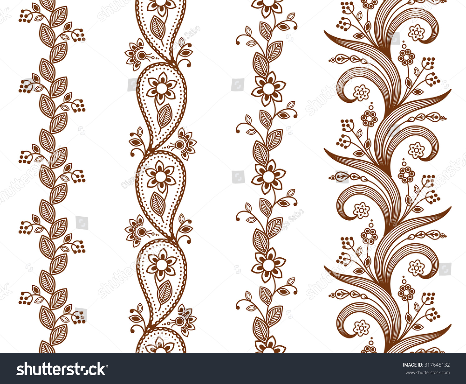 Henna ornamental seamless borders Mehndi style.Four floral one-color borders vertical seamless pattern Smartly layered