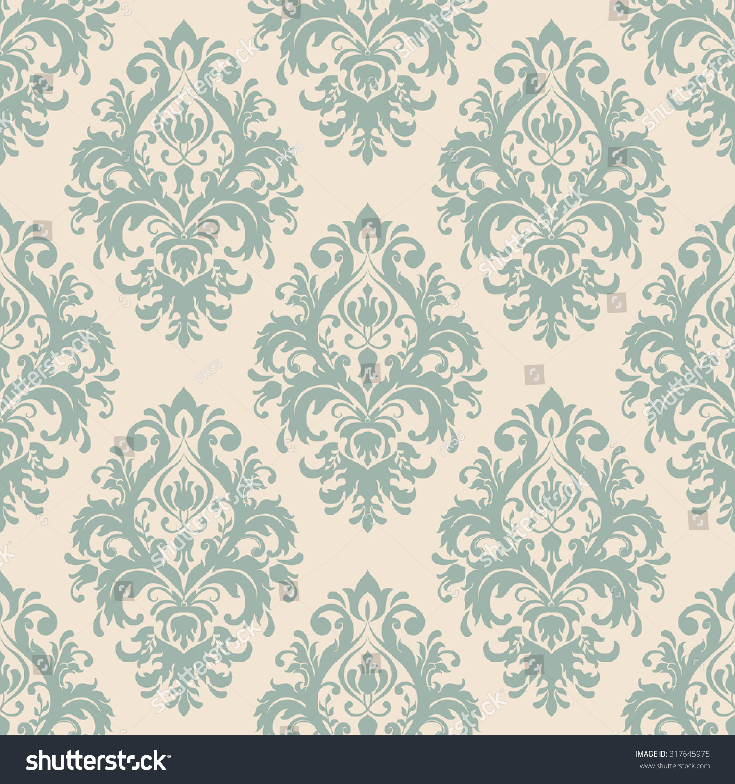 seamless victorian wallpaper in green and beige. Seamless Victorian Wallpaper Green Beige Stock Vector 317645975