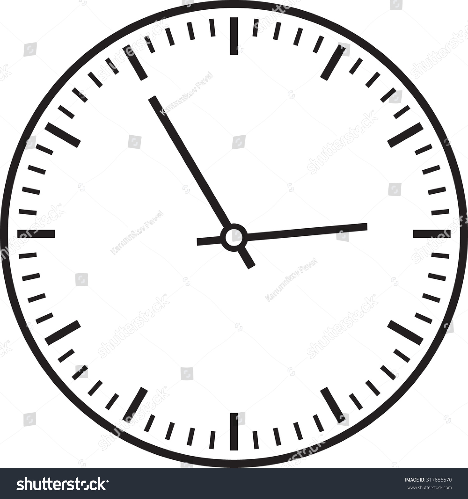 Vector Illustration Clock White Face Isolated Stock Vector