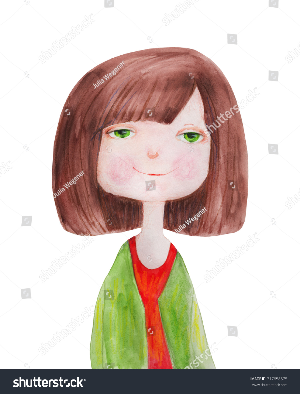 Girl Green Eyes Brown Hair Watercolor Stock Illustration 317658575