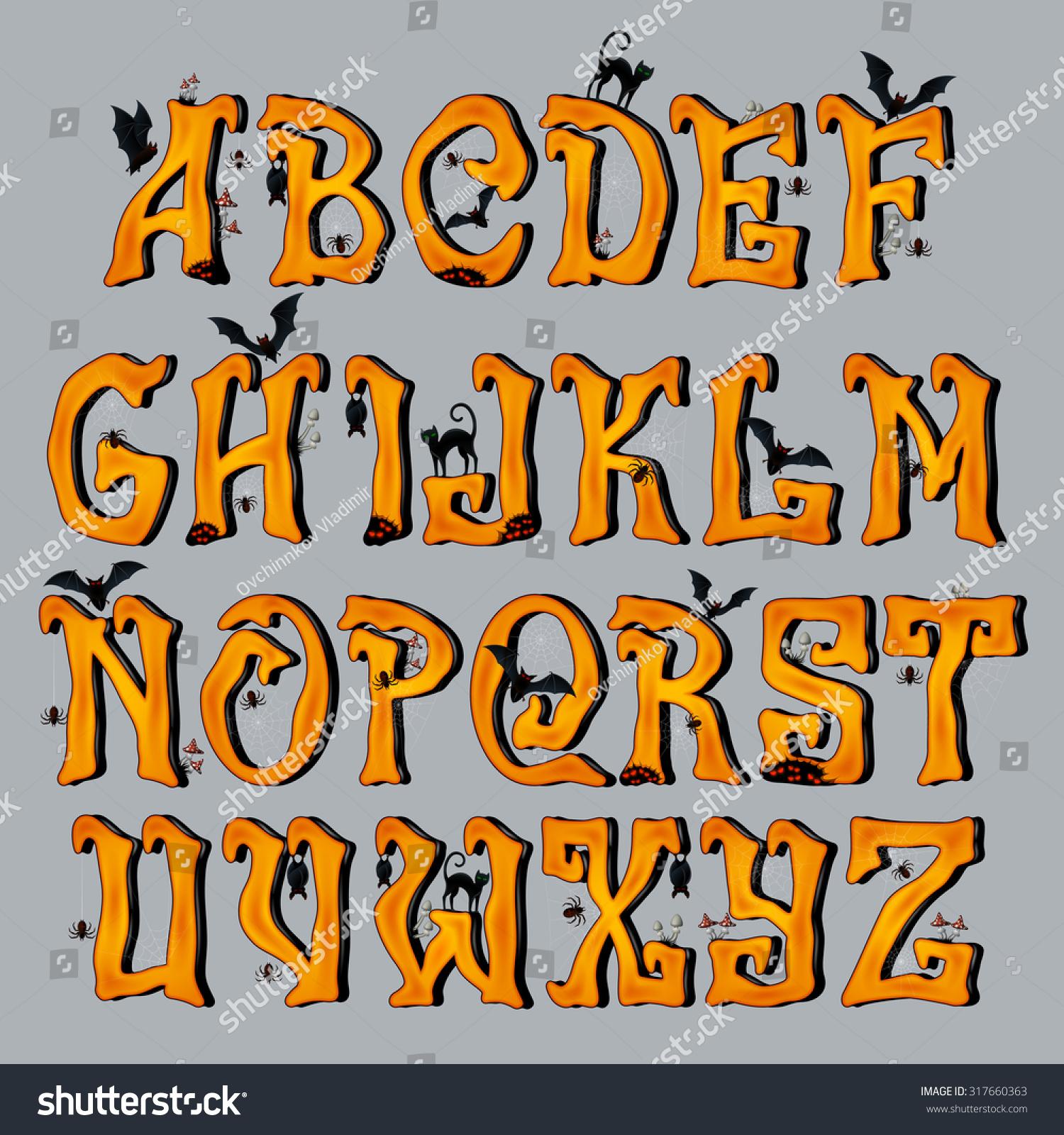 Spooky Halloween Font Capital Letters Halloween Stock Vector ...