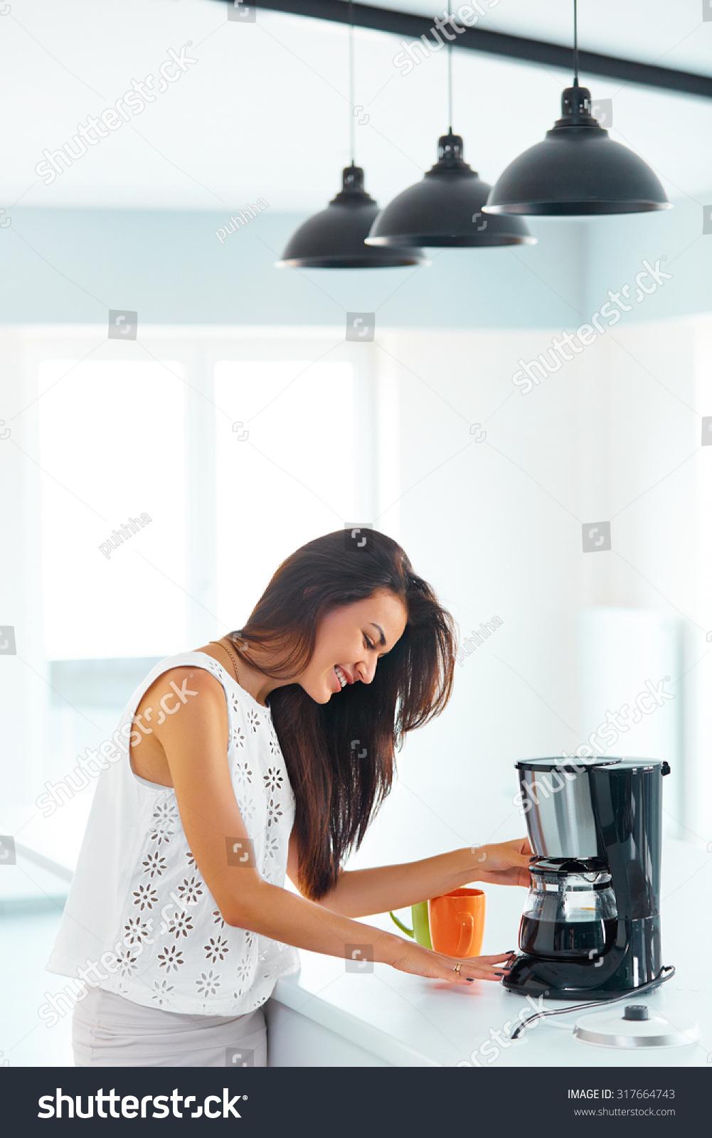 Beautiful Smiling Girl Making Coffee Breakfast Stock Photo (Download ...