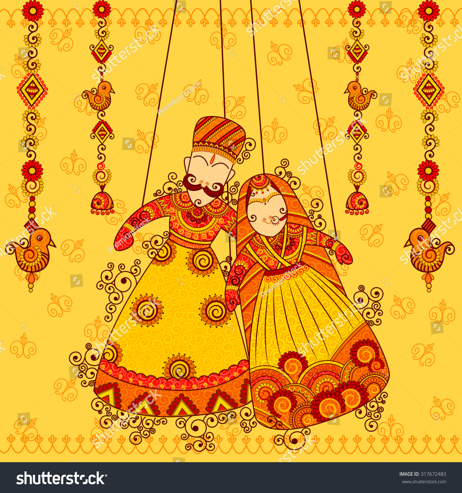 Vector design colorful rajasthani puppet indian stock for Art of indian cuisine