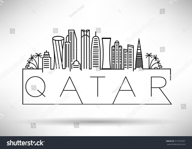 Art Line Qatar : Qatar city line silhouette typographic design stock vector