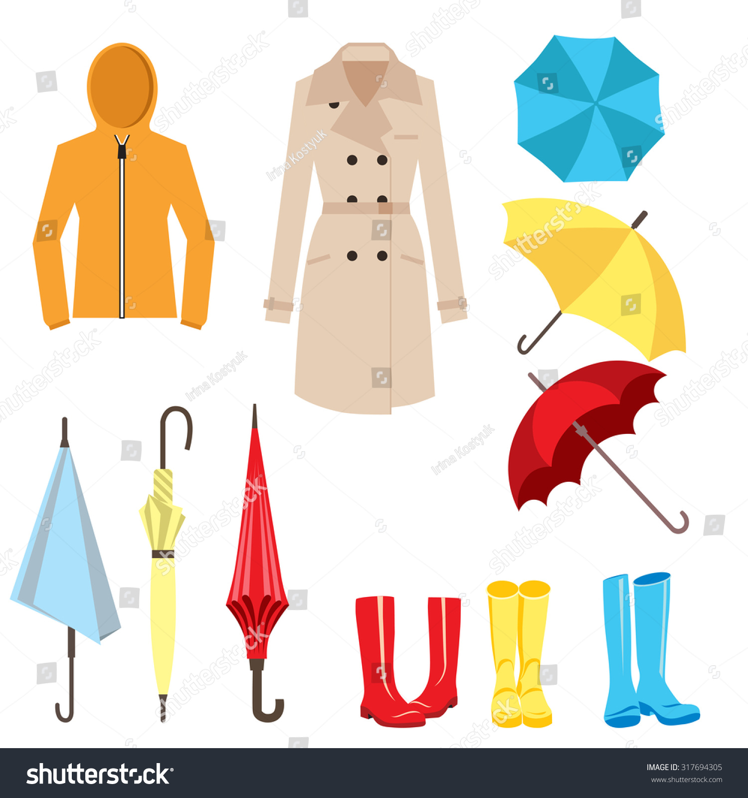 Set Clothes Accessories Rainy Weather Umbrella Stock ...