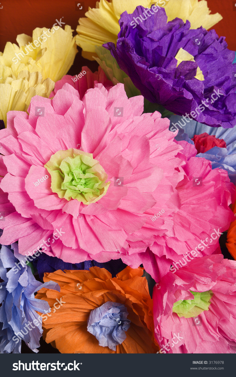 Colorful Paper Flower Bouquet Stock Photo (Royalty Free) 3176978 ...