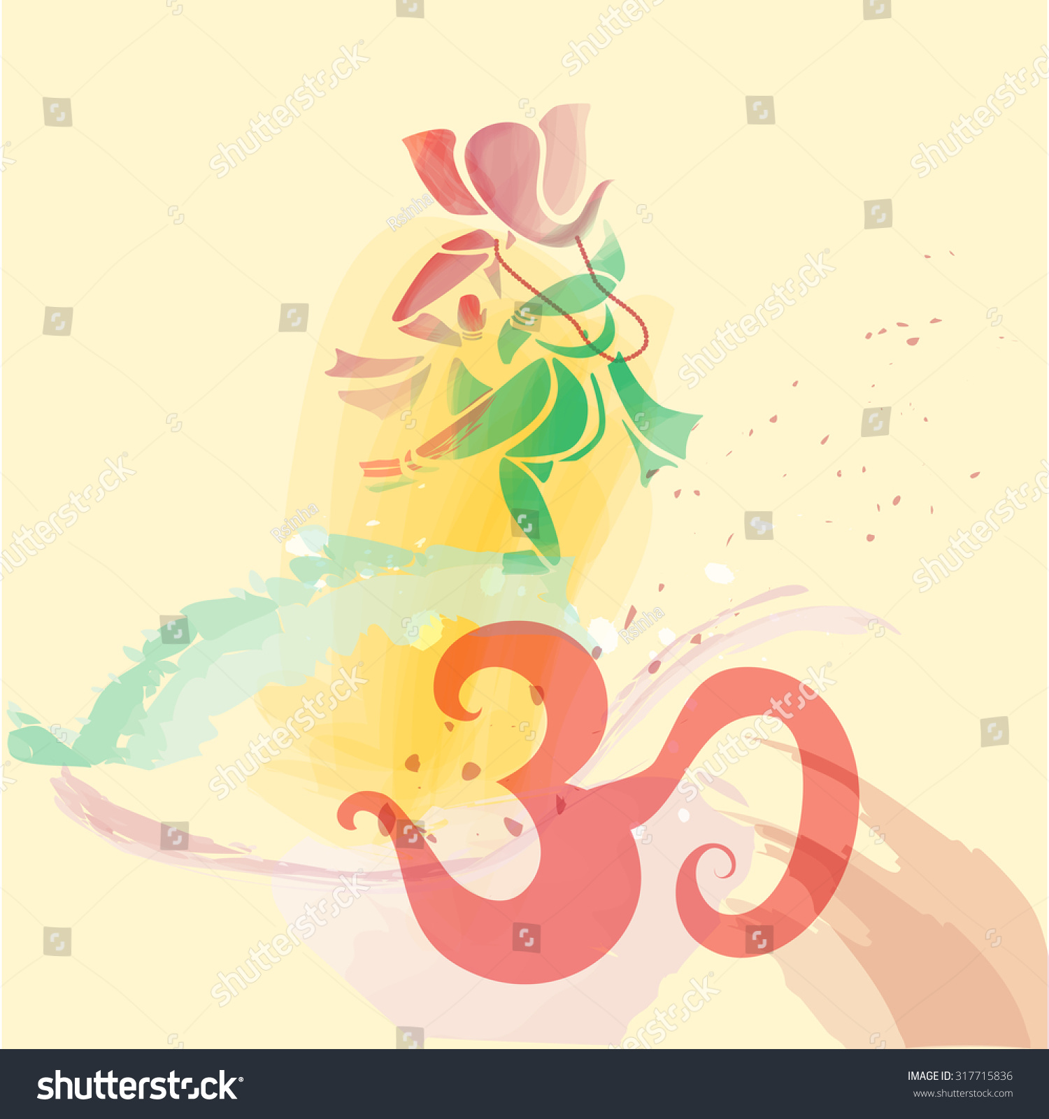 Ganesha Dancing Water Colors On Om Stock Vector Royalty Free