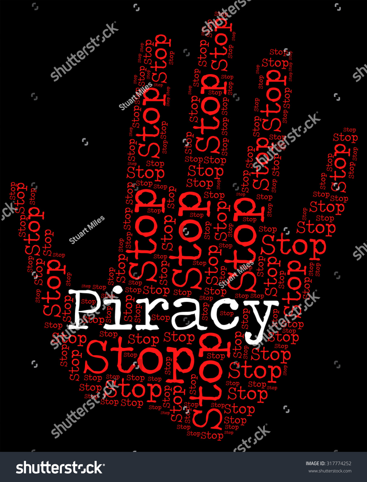 Stop Piracy Meaning Warning Sign Forbidden Stock Illustration